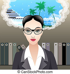 The dreams - Illustration with office girl at working place...