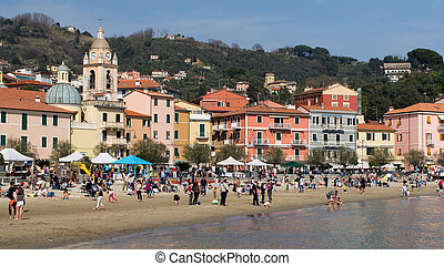 San Terenzo beach, near Lerici, Liguria in Italy -...