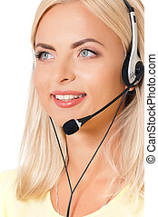 Woman with headset - Smiling female helpline operator with...