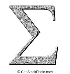 3D Stone Greek Letter Sigma - 3d stone Greek letter Sigma...