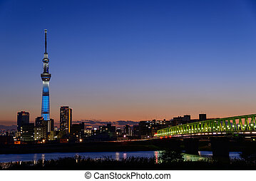Tokyo Sky Tree at dusk - The Tokyo Sky Tree is the new...