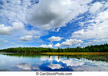 Lake Engozero and dramatic clouds. North Karelia, Russia -...