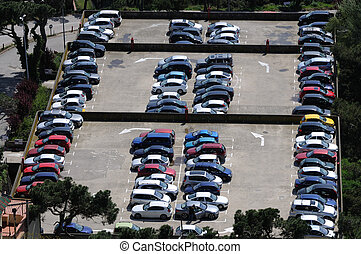Aerial view over a parking lot