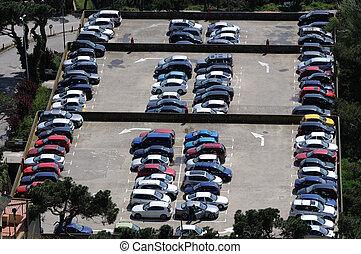 sobre, vista, aéreo, lote, estacionamento