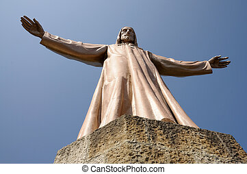 Jesus Christus Statue at Temple del Sagrad Cor in Barcelona,...