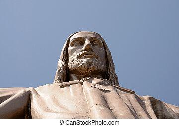 Jesus Christus Statue at Temple del Sagrad Cor in Barcelona,...