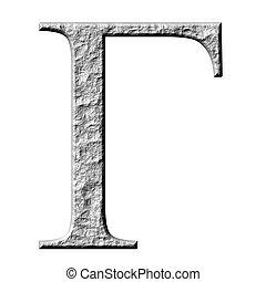 3D Stone Greek Letter Gamma - 3d stone Greek letter Gamma...