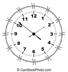 Barbed Wire Clock - Typical clock face with a barbed wire...