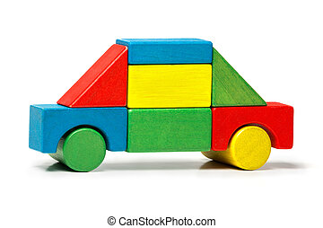 toy car, multicolor wooden blocks transport over white background