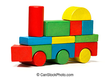 toy train, multicolor locomotive wooden blocks, transport...