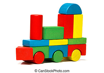 toy train, multicolor locomotive wooden blocks, transport over white background