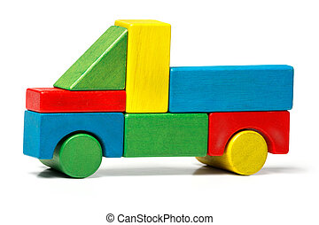 toy truck, multicolor car wooden blocks, transport over white background