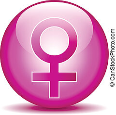 Gender female symbol button on white background