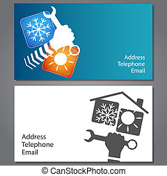 Business card for repair of air conditioners, vector