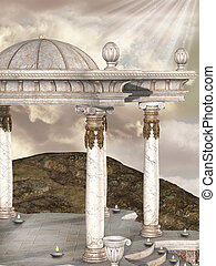 Fantasy landscape with ancient structure outdoor