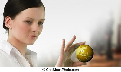 Business woman holding a Globe