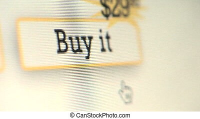 BUY IT - Cursor clicking on Buy It button on computer...