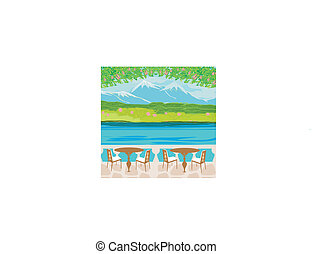 Vector landscape with mountains and cafe tables