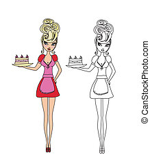 Housewife serving cake with cream - funny doodle...