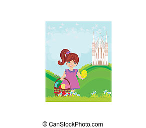 Abstract Easter card with little girl and the Church