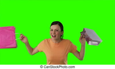 Chromakey woman with shopping - Green Screen Footage of a...