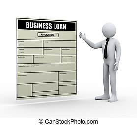 3d man and business loan application - 3d illustration of...