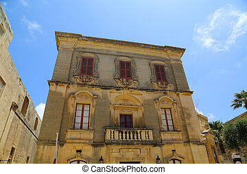Historic Architecture in Mdina, Malta, southern Europe.