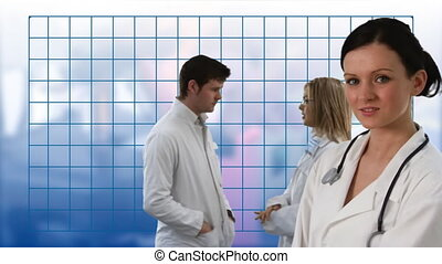 Team of Doctors working Together - HD footage of a Team of...