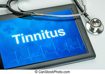 Tablet with the diagnosis tinnitus on the display