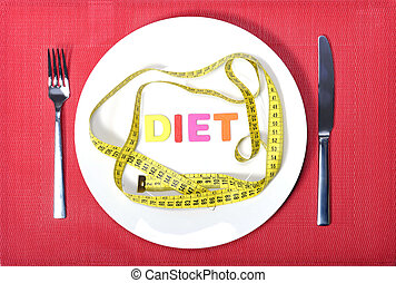 measure tape as meal on dish with fork and knife in diet...