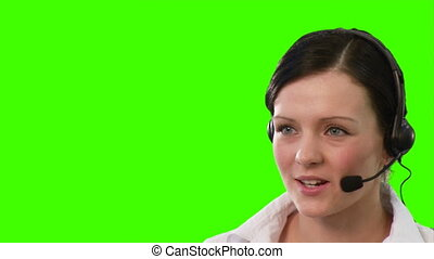 Woman on a headset talking - woman on reception