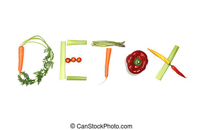 detox written with vegetables in healthy nutrition concept
