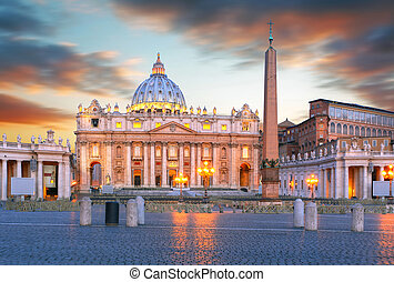 Saint Peters square at sunset, Vatican City