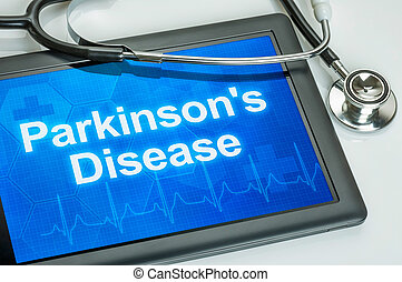 Tablet with the diagnosis parkinsons disease on the display