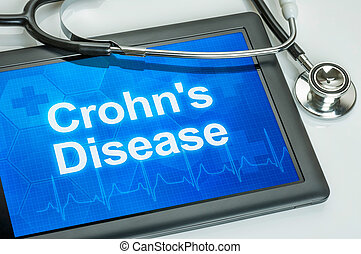 Tablet with the diagnosis Crohns disease on the display