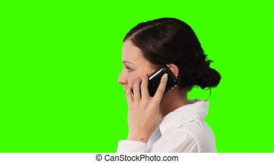Woman talking on the phone - Chroma-Key Business