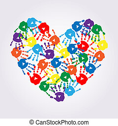 Heart of colorful hand prints