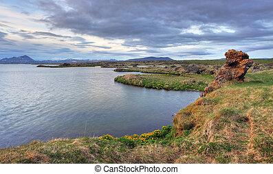Myvatn lake at sunset - Iceland