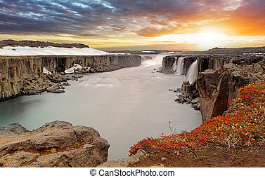 Selfoss waterfall in Vatnajokull National Park, Northeast...