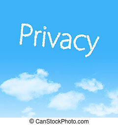 Privacy cloud icon with design on blue sky background