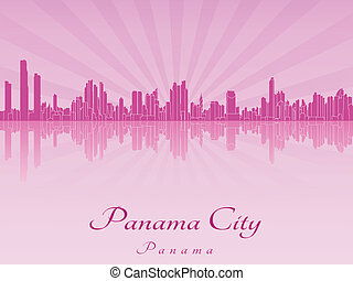 Panama City skyline in purple radiant orchid in editable...