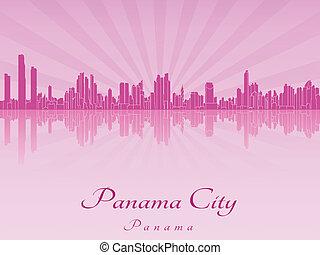 Panama City skyline in purple radiant orchid in editable...