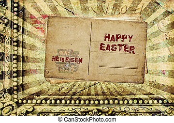 Happy Easter He is Risen - Religious Words in grunge style...