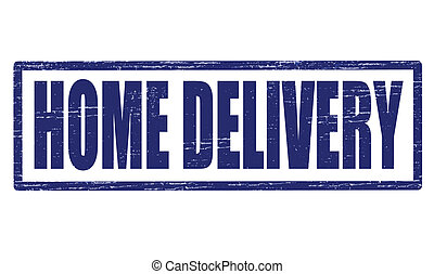 Home delivery - Stamp with text home delivery inside, vector...