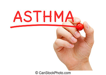 Asthma Red Marker - Hand writing Asthma with marker on...