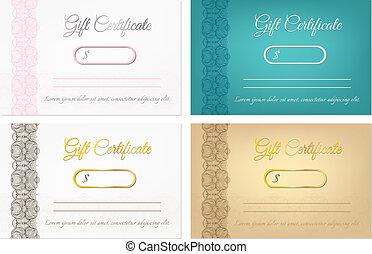Set of vector gift certificates