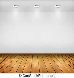 Vector background Realistic interior Wooden floor, wall and...