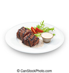 Delicious grilled tenderloin steak Isolated on white -...