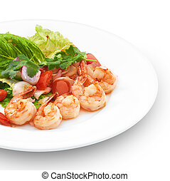 Thai traditional salad with roya shrimps. Isolated on white...