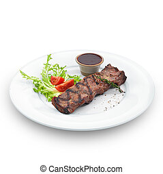 Delicious grilled steak Isolated on white - Delicious...